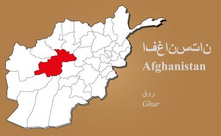 afghan: Afghan map in 3D on brown background  Ghur highlighted