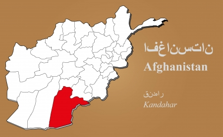 cantonese: Afghan map in 3D on brown background  Kandahar highlighted  Illustration