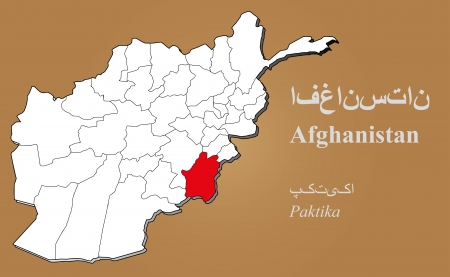 cantonese: Afghan map in 3D on brown background  Paktika highlighted