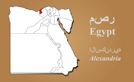 cantonese: Egypt map in 3D on brown background  Alexandria highlighted