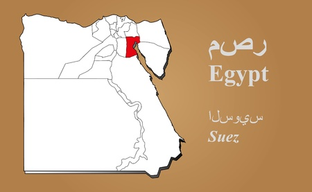 geographically: Egypt map in 3D on brown background  Suez highlighted