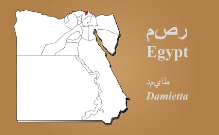 cantonese: Egypt map in 3D on brown background  Damietta highlighted
