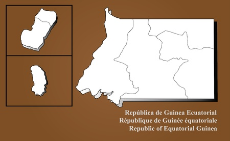 sur: Republic of Equatorial Guinea map in 3D on brown background