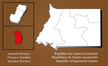Equatorial Guinea map in 3D on brown background  Annobon highlighted