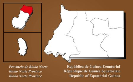 Equatorial Guinea map in 3D on brown background  Bioko Norte highlighted