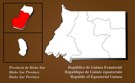 Equatorial Guinea map in 3D on brown background  Bioko Sur highlighted