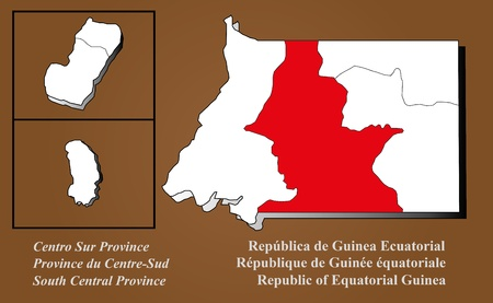 Equatorial Guinea map in 3D on brown background  Centro Sur highlighted