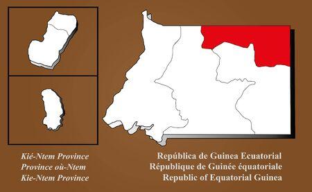 Equatorial Guinea map in 3D on brown background  Kie-Ntem highlighted  Ilustração