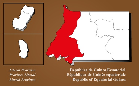 Equatorial Guinea map in 3D on brown background  Litoral highlighted