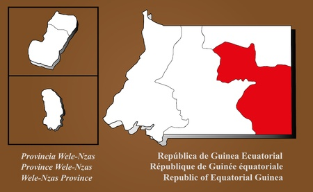 Equatorial Guinea map in 3D on brown background  Wele-Nzas highlighted  Ilustração