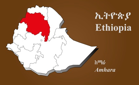 afar: Ethiopia map in 3D on brown background  Amhara highlighted  Illustration