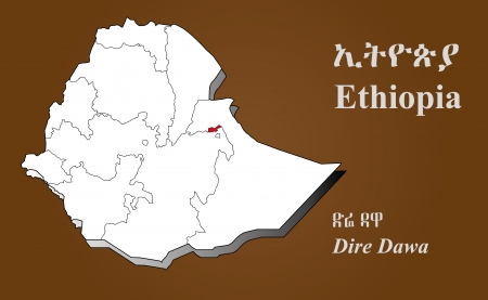 afar: Ethiopia map in 3D on brown background  Dire Dawa highlighted  Illustration