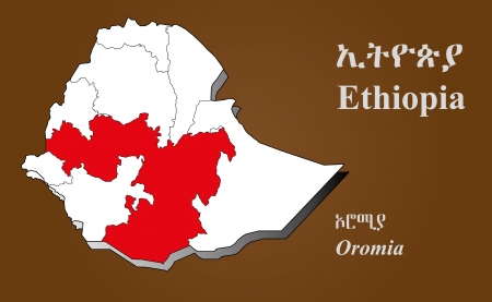 dire: Oromia map in 3D on brown background  Addis Ababa highlighted