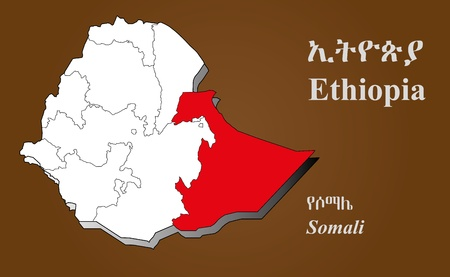 dire: Ethiopia map in 3D on brown background  Somali highlighted