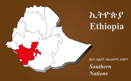 Ethiopia map in 3D on brown background  Southern Nations highlighted