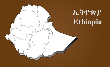 Ethiopia map in 3D on brown background