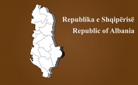 Albania map in 3D on brown background  Ilustração