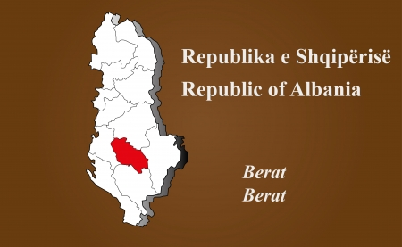 Albania map in 3D on brown background  Berat highlighted