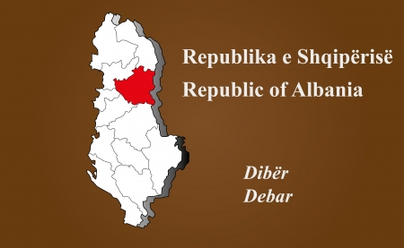 Albania map in 3D on brown background  Debar highlighted  Ilustração