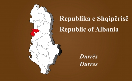 Albania map in 3D on brown background  Durres highlighted  Ilustração
