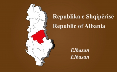 Albania map in 3D on brown background  Elbasan highlighted