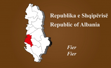 Albania map in 3D on brown background  Fier highlighted