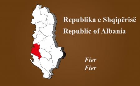 albanie: Albanie carte en 3D sur fond brun Fier soulign�