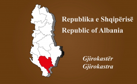 Albania map in 3D on brown background  Gjirokastra highlighted