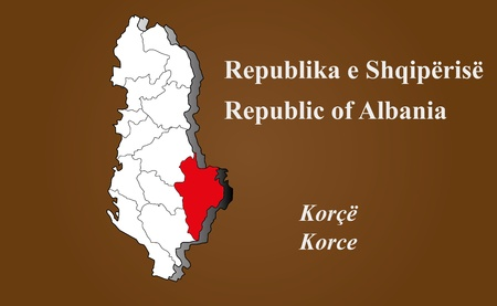 Albania map in 3D on brown background  Korce highlighted