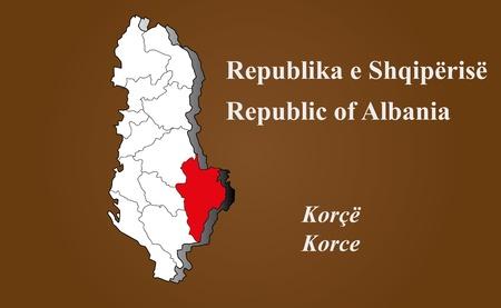 albanie: Albanie carte en 3D sur fond brun Korce surbrillance