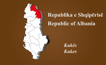 Albania map in 3D on brown background  Kukes highlighted  Ilustração