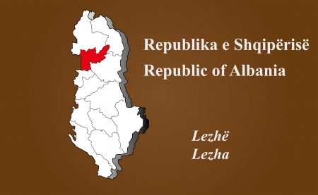 geographically: Albania map in 3D on brown background  Lezha highlighted