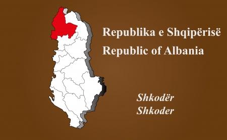 Albania map in 3D on brown background  Shkoder highlighted  Ilustração
