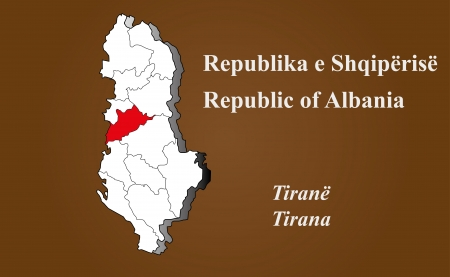 Albania map in 3D on brown background  Tirana highlighted  Ilustração
