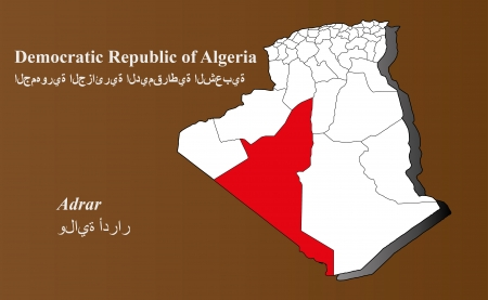 Algeria map in 3D on brown background  Adrar highlighted