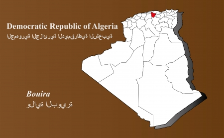 geographically: Algeria map in 3D on brown background  Bouira highlighted  Illustration
