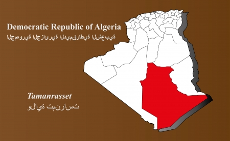 Algeria map in 3D on brown background  Tamanrasset highlighted