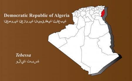 Algeria map in 3D on brown background  Tebessa highlighted