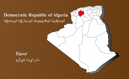 Algeria map in 3D on brown background  Tiaret highlighted