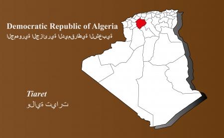 Algerien Karte in 3D auf braunem Hintergrund hervorgehoben Tiaret Illustration