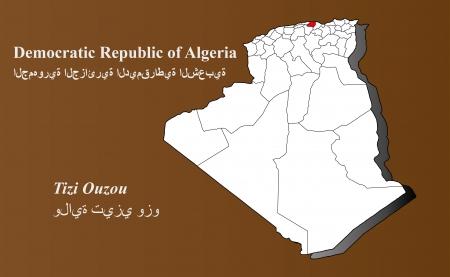 Algerien Karte in 3D auf braunem Hintergrund Tizi Ouzou hervorgehoben