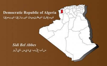 Algerien Karte in 3D auf braunem Hintergrund Sidi Bel Abbes hervorgehoben