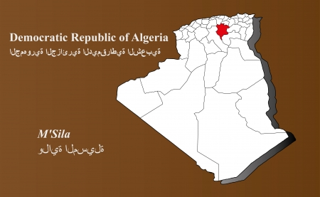 Algeria map in 3D on brown background  M Sila highlighted  Ilustração