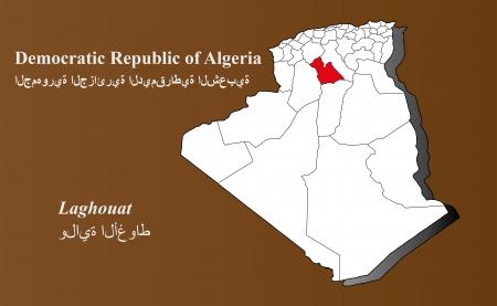 Algeria map in 3D on brown background  Laghouat highlighted  Ilustração