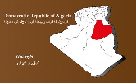 Algeria map in 3D on brown background  Ouargla highlighted  Ilustração