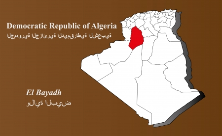 Algeria map in 3D on brown background  El Bayadh highlighted
