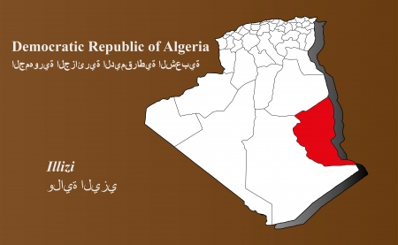 Algeria map in 3D on brown background  Illizi highlighted