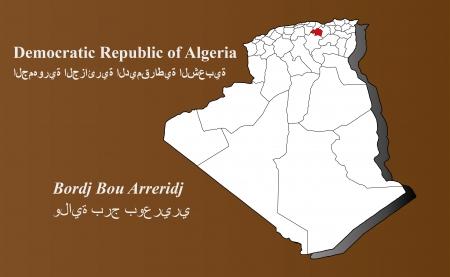Algerien Karte in 3D auf braunem Hintergrund Bordj Bou Arreridj hervorgehoben Illustration