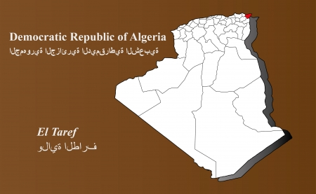 Algeria map in 3D on brown background  El Taref highlighted