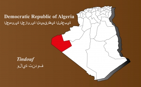 Algeria map in 3D on brown background  Tindouf highlighted